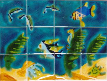 Seascape Panel of hand-painted tiles