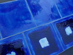 Persian Glazed Ultramarine blue mixed with florida square handmade tiles