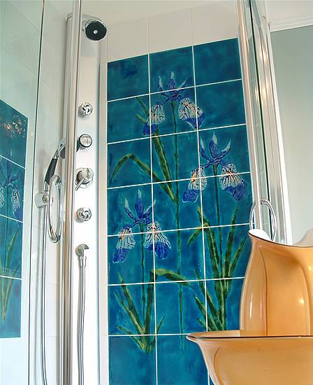 Custom designed panel of Irises on 20x20cm tiles