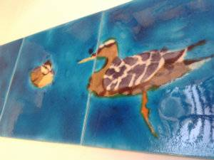Custom hand-painted panel of 4 tiles with a Ducks & Ducklings