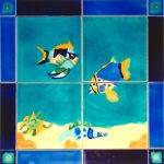 Unique 4 tile Marine lIife mural
