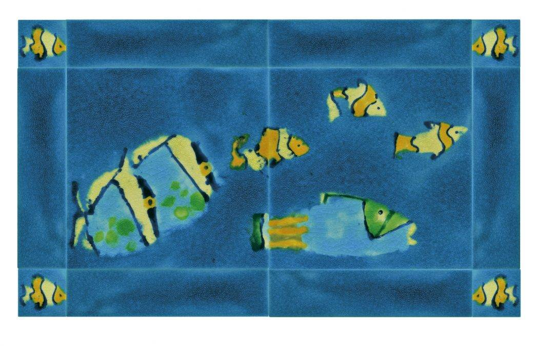 Unique hand made decorative Tropical fish tile murals – perfect for any bathroom or kitchen !