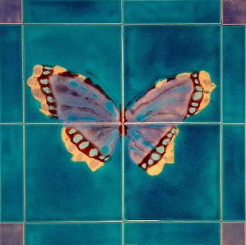 butterfly mural 4 tile panel with rich incandescent colours