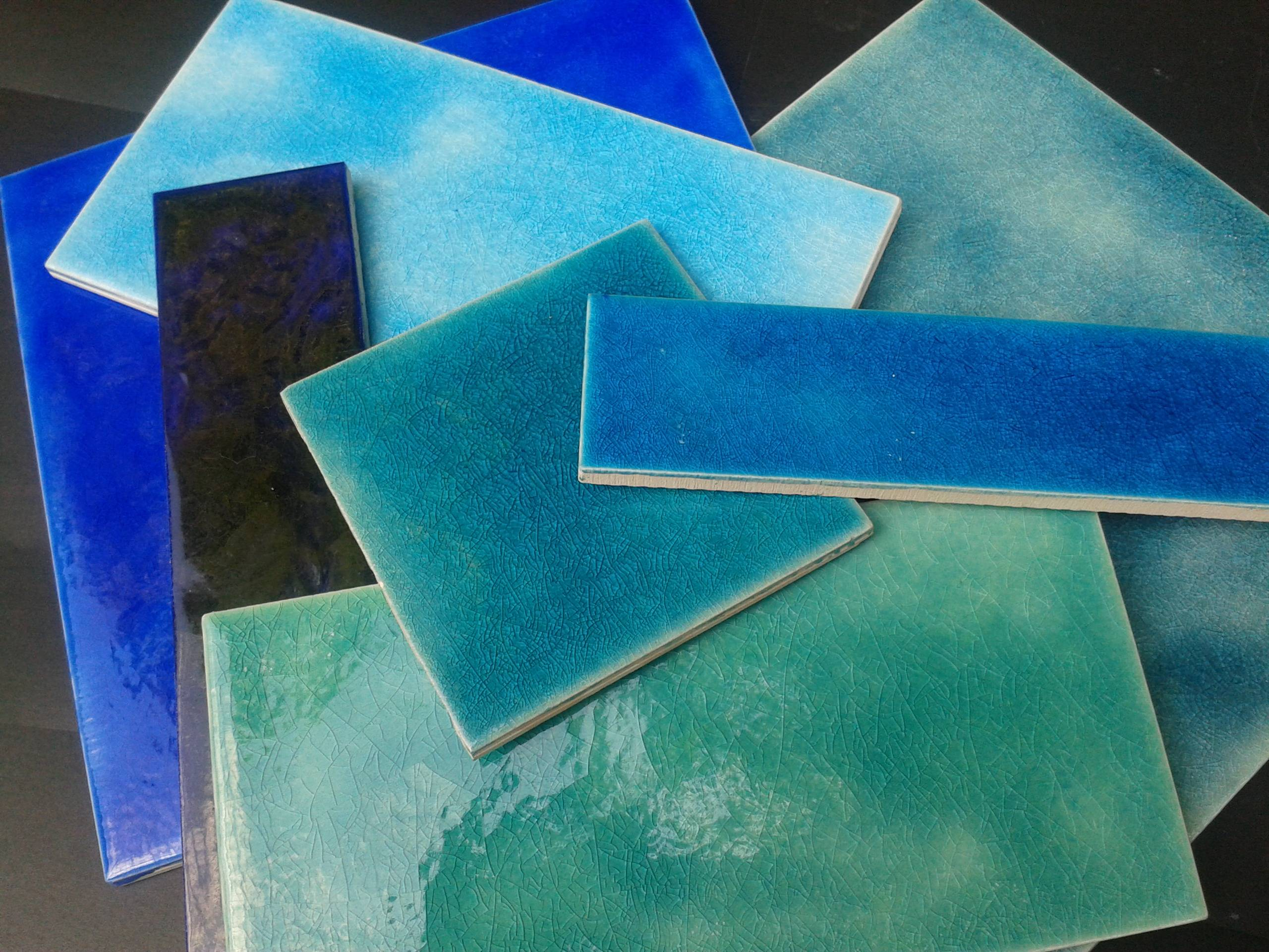 Persian glazed plain blues available in all sizes
