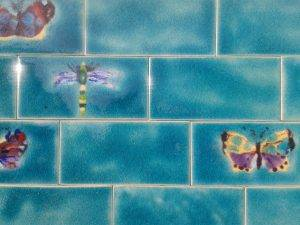 Butterfly & Dragonfly tiles with plain Jade tiles.