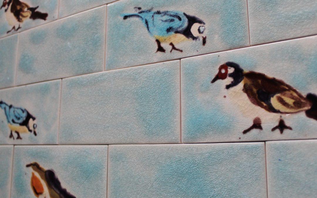 Our unique , hand decorated British Bird metro kitchen tiles