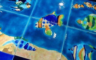 Bespoke backsplash Marine Life mural
