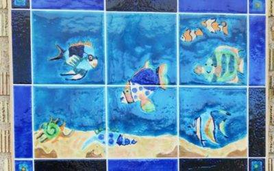 NEW ! Bespoke , hand decorated wall tile Mural