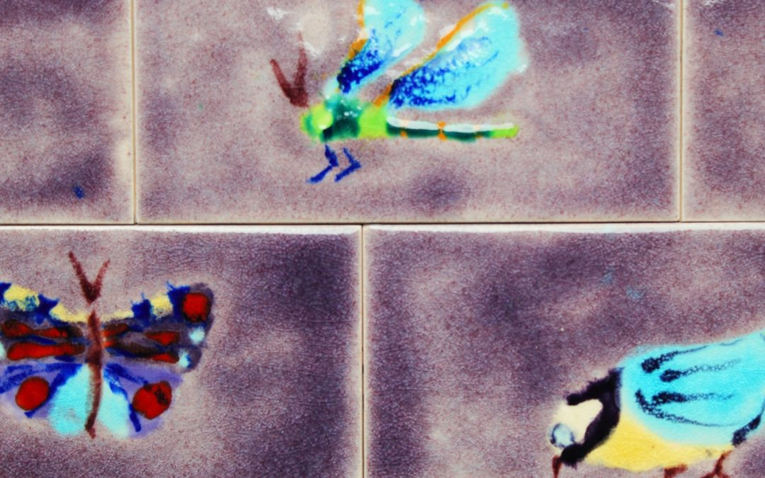 Kitchen art tile splashback featuring Butterflies & Birds !